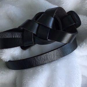 Loft Black Leather Braided Detail Belt